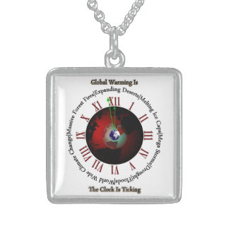 Global Warming - Time Is Running Out Square Pendant Necklace