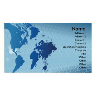 global word map and hexagon business card design