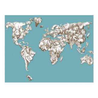 Global World Animal Map Postcard