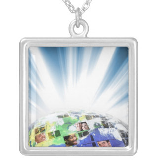 Global Worldwide Network of People Square Pendant Necklace