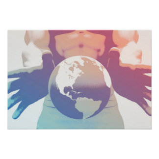 Globalization and a Global Company with Hands Poster