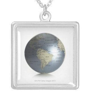 Globe 3 silver plated necklace