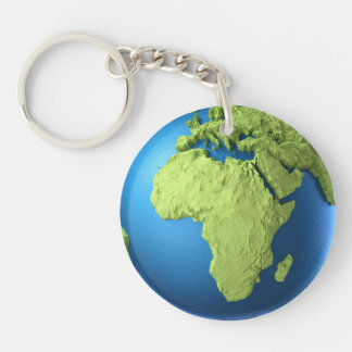 Globe 3d Isolated On White. Continent Africa Keychain