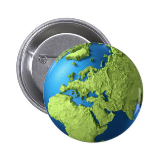 Globe 3d Isolated On White. Continent Europe Pinback Button