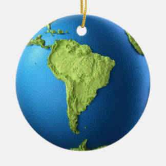 Globe 3d isolated on white.Continent South America Ceramic Ornament