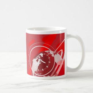 Globe and clock background classic white coffee mug