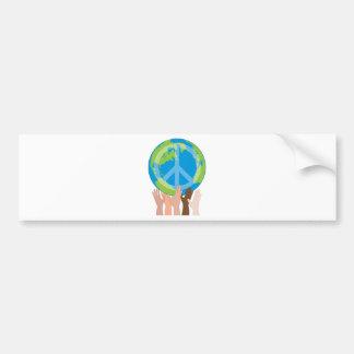 Globe and Hands Car Bumper Sticker