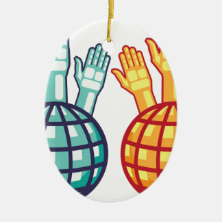 Globe and Hands Up vector Ceramic Ornament