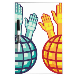 Globe and Hands Up vector Dry Erase Board