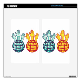 Globe and Hands Up vector Kindle Fire Skin