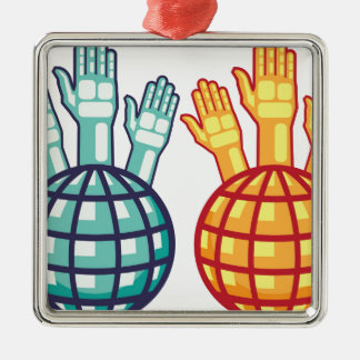 Globe and Hands Up vector Metal Ornament