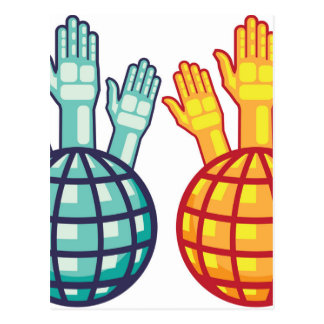 Globe and Hands Up vector Postcard
