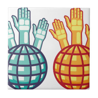 Globe and Hands Up vector Tile