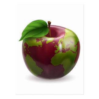Globe Apple Concept Illustration Post Card