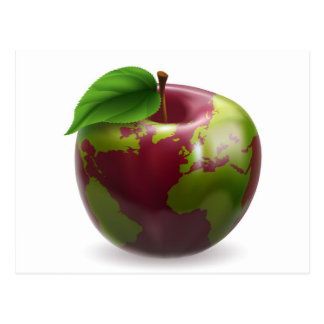 Globe Apple Concept Illustration Post Cards