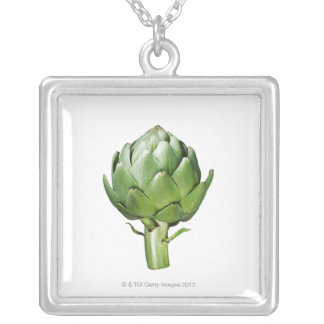 Globe Artichoke on White Background Cut Out Silver Plated Necklace