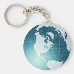 Globe Basic Round Button Keychain