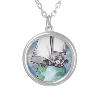 Globe Boat Logo Silver Plated Necklace