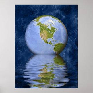 Globe centered on North America Print