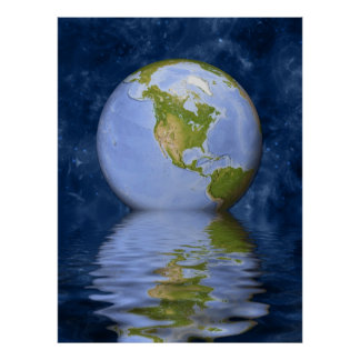 Globe centered on North America Poster