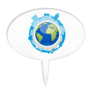 globe design city around it ecology graphic.png cake topper