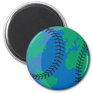 globe earth worldwide baseball 2 inch round magnet