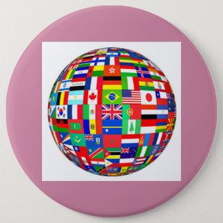 globe flags pinback button
