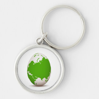 globe green white egg shaped with shadow.png Silver-Colored round keychain