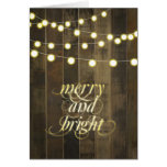 Globe Hanging String Lights Merry and Bright Greeting Card