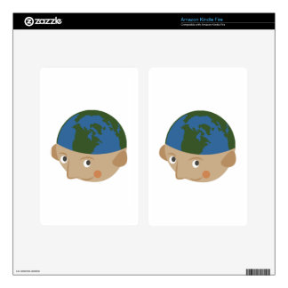 Globe Head Decals For Kindle Fire