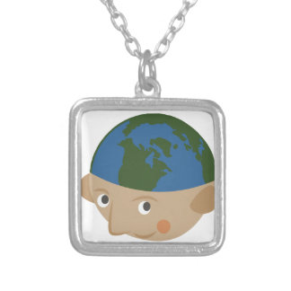 Globe Head Silver Plated Necklace