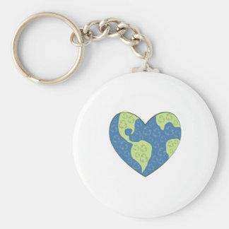 Globe Heart Key Chains