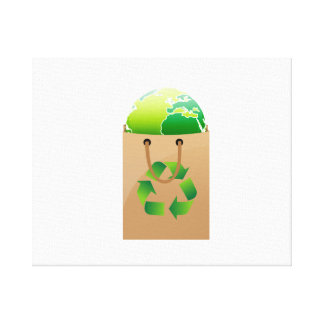 globe in brown shopping bag recycle symbol.png canvas print