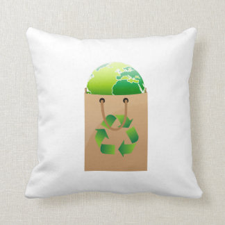 globe in brown shopping bag recycle symbol.png throw pillow