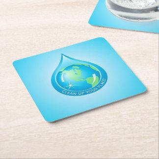 Globe in Waterdrop Square Paper Coaster
