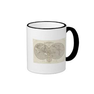 Globe map ringer coffee mug