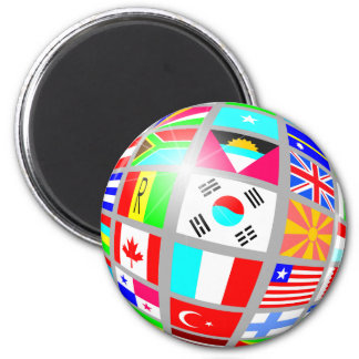 Globe Of Flags Refrigerator Magnets