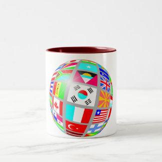 Globe Of Flags Two-Tone Coffee Mug