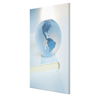 Globe on a book canvas print