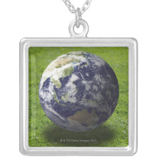 Globe on lawn silver plated necklace