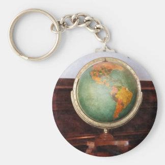 Globe on Piano Basic Round Button Keychain