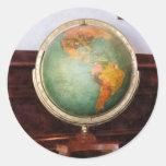 Globe on Piano Round Sticker