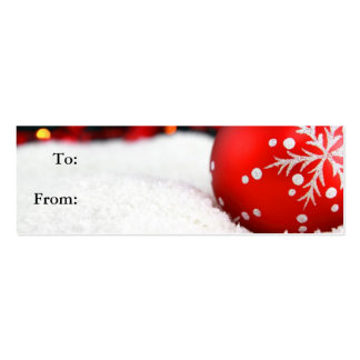 Globe on Snow Gift Tag Businesss Card Double-Sided Mini Business Cards (Pack Of 20)