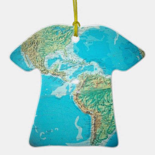 Globe Double-Sided T-Shirt Ceramic Christmas Ornament