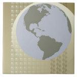 Globe Showing Americas Ceramic Tile