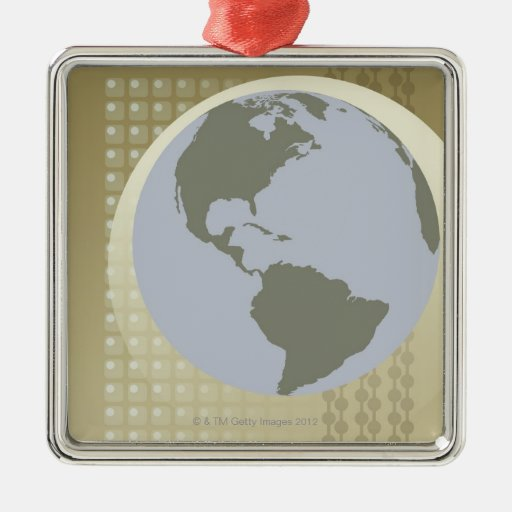 Globe Showing Americas Square Metal Christmas Ornament