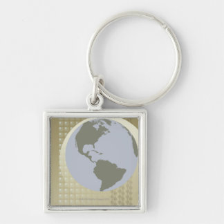 Globe Showing Americas Silver-Colored Square Keychain