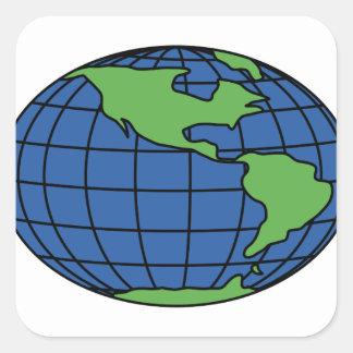 Globe Square Sticker