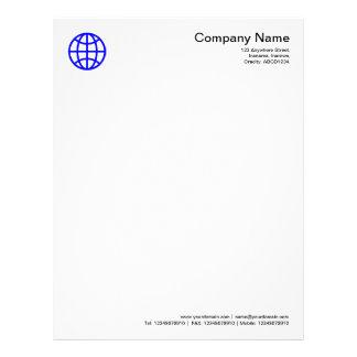 Globe Symbol - Blue Letterhead Template