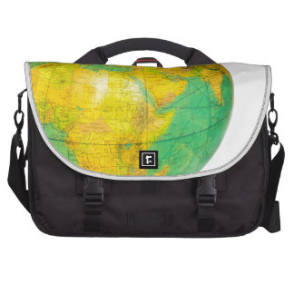 Globe with planet earth isolated on white laptop messenger bag